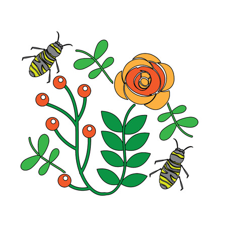 Bees flying over flowers with branch of leaves illustration Illustration