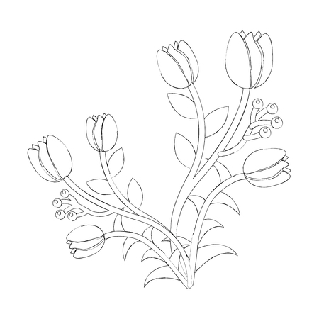 장미 꽃 열매 꽃 봉오리 줄기 자연 벡터 일러스트 레이션