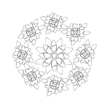 round arrangement flowers floral decoration natural image vector illustration 向量圖像
