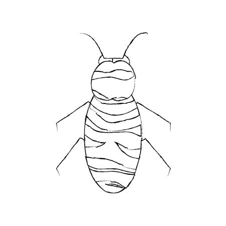 꿀벌 비행 벌레 동물 정원 벡터 일러스트 레이션 일러스트