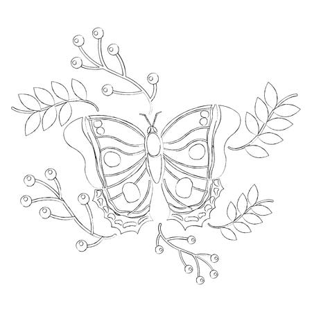 monarch vlinder dierlijk insect met tak bessen natuurlijke afbeelding vector illustratie