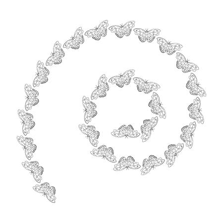 蝶の螺旋装飾デザインの渦巻きのパターン