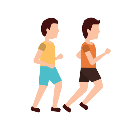 men avatar running or jogging icon image vector illustration design