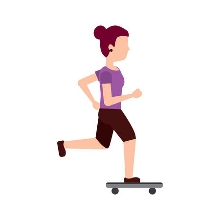 woman skateboarding vector illustration design
