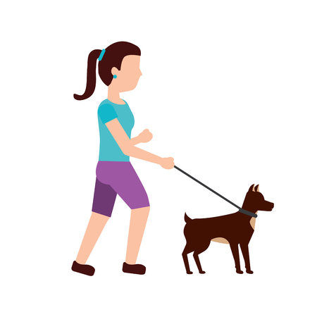woman walking dog pet icon image vector illustration design
