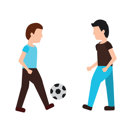 men playing soccer or football icon image vector illustration design  向量圖像