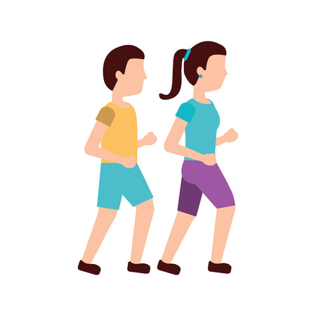 man and woman avatar running or jogging icon image vector illustration design  Illustration