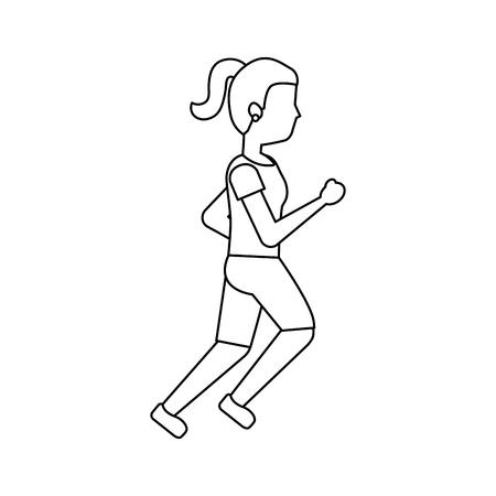 Woman person avatar running or jogging icon image vector illustration design Illustration