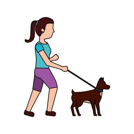 woman walking dog pet icon image vector illustration design Stok Fotoğraf - 91218811