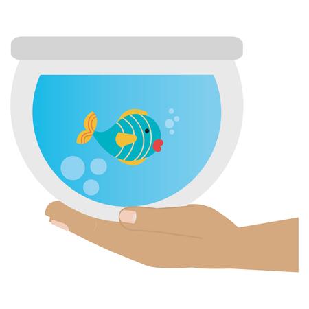 hand with fish in aquarium vector illustration design Ilustracja