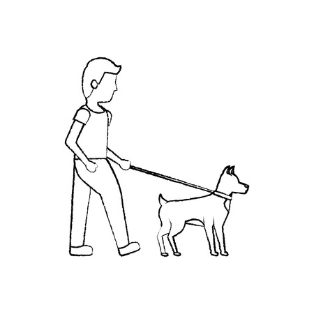 man walking dog pet icon image vector illustration design  일러스트