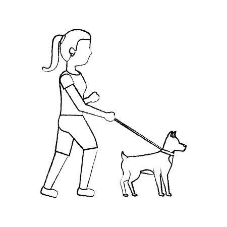 woman walking dog pet icon image vector illustration design Stok Fotoğraf - 91198987