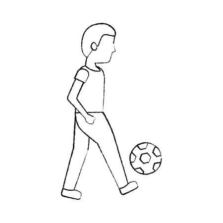 person playing soccer or football icon image vector illustration design  Illustration