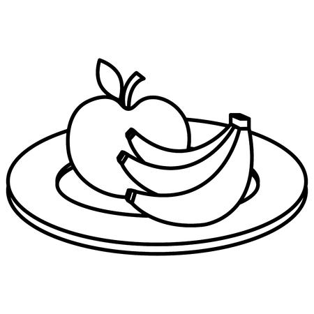Dish with apple and banana vector illustration design Ilustração