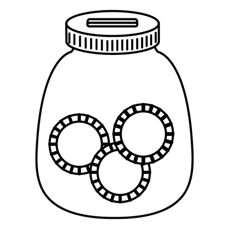 Glass jar with coins money vector illustration design
