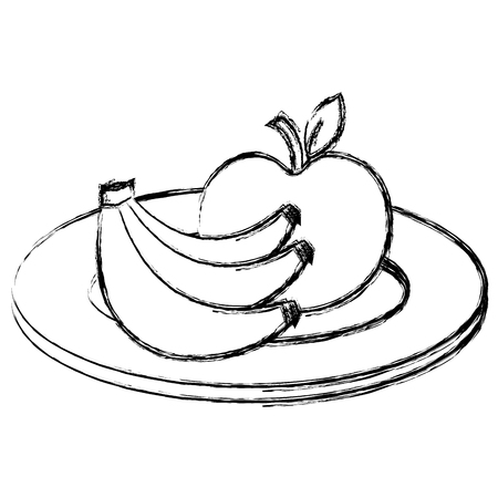 Plate with apple and banana vector illustration design