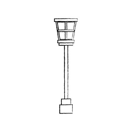 street lamp post light decoration vintage vector illustration sketch