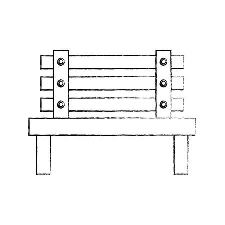 bench park decoration furniture comfort vector illustration sketch Ilustração