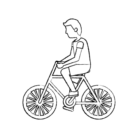 character young man riding bicycle side view vector illustration sketch Ilustrace
