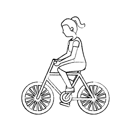woman riding bicycle activity recreation sport vector illustration sketch