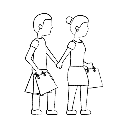 couple walking with shopping paper bag vector illustration sketch Ilustração