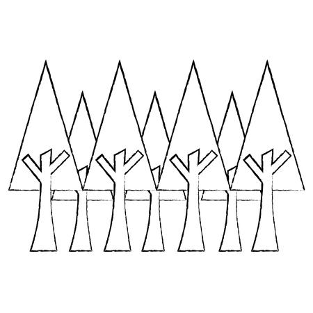 Schizzo botanico dell'illustrazione di vettore dell'ambiente di ecologia del fogliame dei pini Archivio Fotografico - 91203368