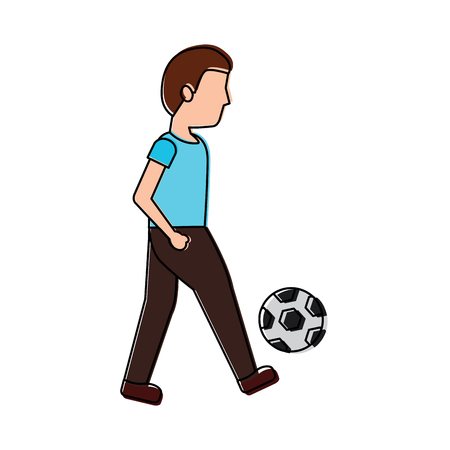 young man playing with soccer ball vector illustration Illustration