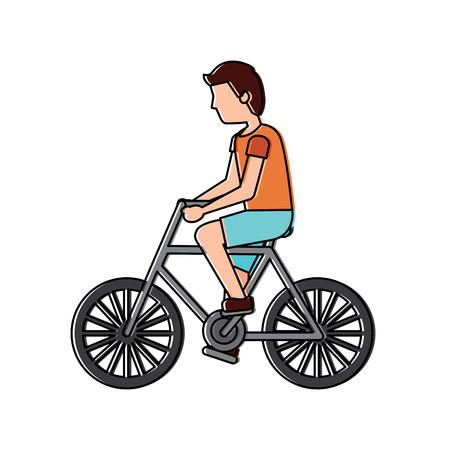 Character young man riding bicycle side view vector illustration Illustration