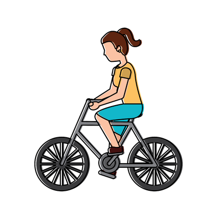 woman riding bicycle activity recreation sport vector illustration