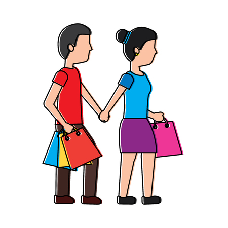couple walking with shopping paper bag vector illustration 向量圖像