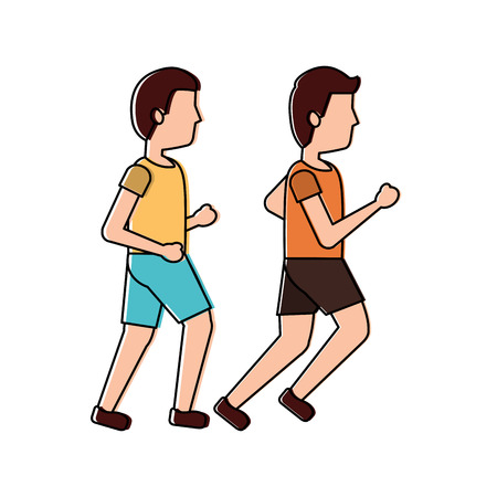 two man sport running sport vector illustration