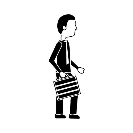 Business man walking holding briefcase vector illustration black image