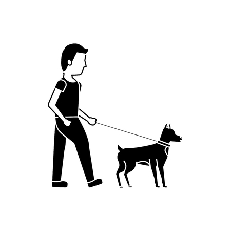 young man walking with their dog pet vector illustration black image Иллюстрация