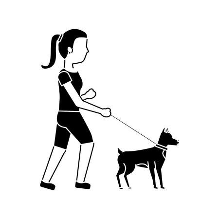 jonge vrouw die een hond vectorillustratie loopt