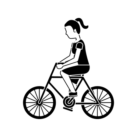 woman riding bicycle activity recreation sport vector illustration black image