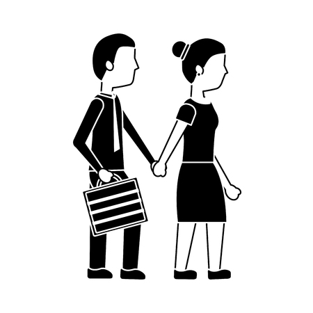 couple holding hands walk with briefcase vector illustration