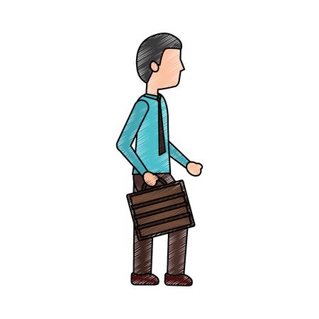 business man walking holding briefcase vector illustration
