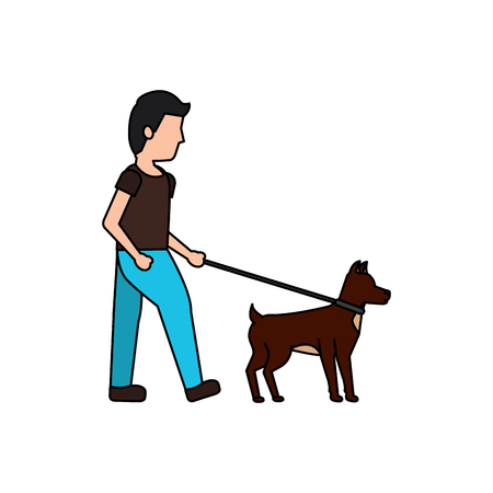 young man walking with their dog pet vector illustration Иллюстрация