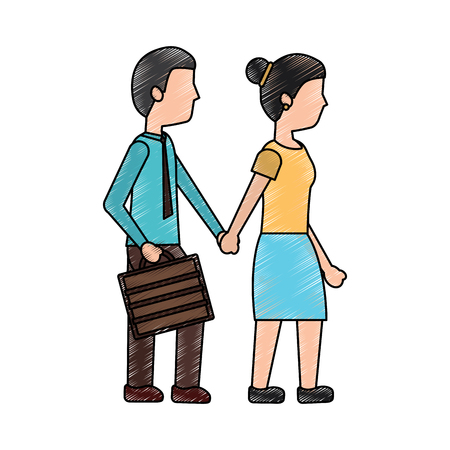 A couple holding hands walk with briefcase vector illustration