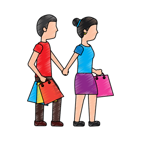 A woman and man shopping icon image vector illustration design Illustration
