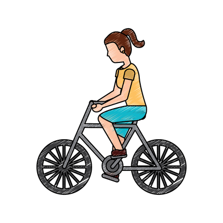 A woman riding bicycle activity recreation sport vector illustration