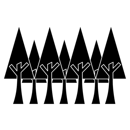 pine trees foliage ecology environment botanical vector illustration black image