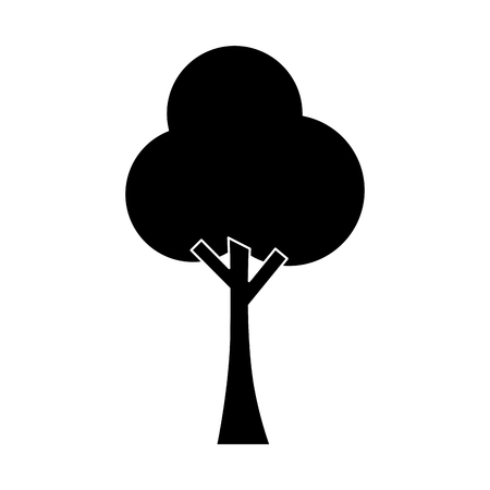 tree nature forest ecology pictogram vector illustration black image
