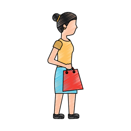 young woman walking with shopping bag vector illustration Illustration