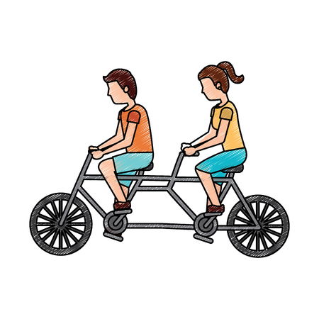 couple riding tandem bicycle sports traveling vector illustration