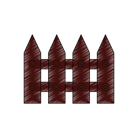 fence wooden section icon image vector illustration design