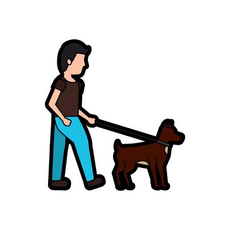 man walking dog pet icon image vector illustration design Stok Fotoğraf - 91205404