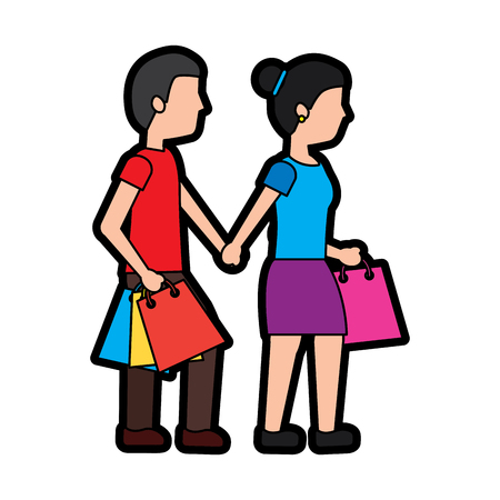 Woman and man shopping icon image vector illustration