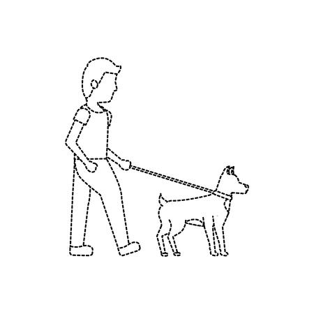 犬のアイコン画像ベクトルイラストを歩いている男