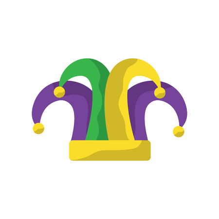 harlequin hat mardi gras carnival icon image vector illustration design